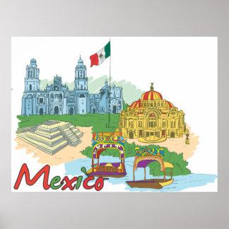 Mexico Landmarks Print