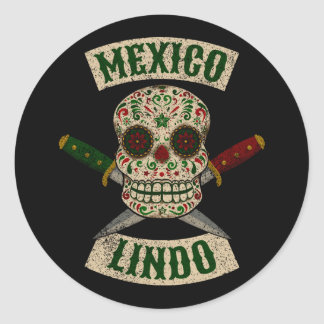 Mexico Lindo. Mexican skull with daggers (vintage) Classic Round Sticker