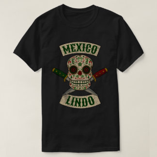 Mexico Lindo. Mexican skull with daggers (vintage) T-Shirt