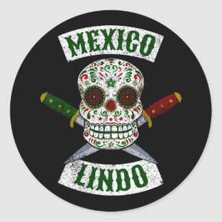 Mexico Lindo. Mexican skull with daggers (white) Classic Round Sticker