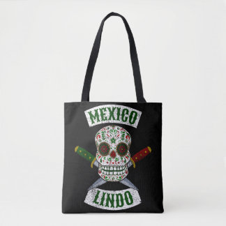 Mexico Lindo. Mexican skull with daggers (white) Tote Bag