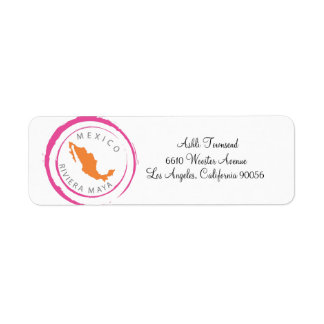 Mexico Map & Customize Your Text Return Address Label