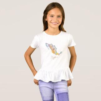 Mexico Map Watercolor Girls' Ruffle Shirt