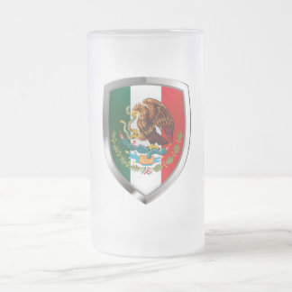 Mexico Metallic Emblem Frosted Glass Beer Mug