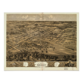 Mexico Missouri 1869 Antique Panoramic Map Poster
