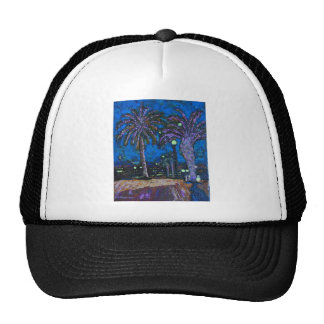 Mexico Night Palm trees acrylic painting art Hat