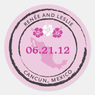 Mexico Passport Stamp with Hibiscus Flowers Round Sticker