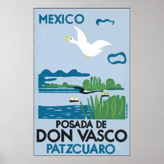 Mexico Po sada De Don Vasco Patzcuaro, Vintage Poster