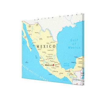 Mexico Political Map Canvas Print