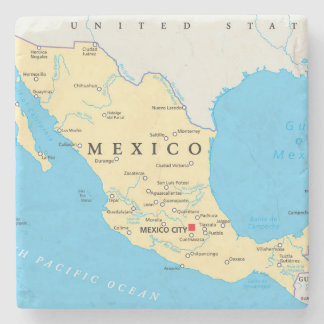 Mexico Political Map Stone Coaster
