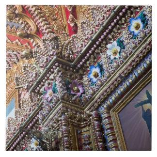 Mexico, Queretaro. Detail inside ornate Catholic Large Square Tile