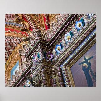 Mexico, Queretaro. Detail inside ornate Catholic Poster