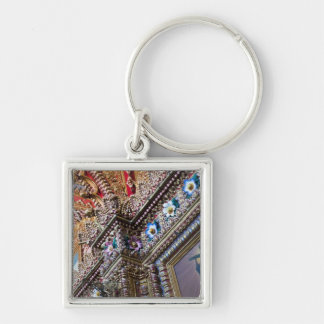 Mexico, Queretaro. Detail inside ornate Catholic Silver-Colored Square Key Ring