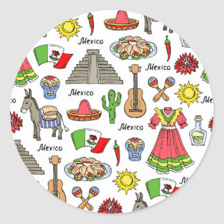 Mexico | Symbols Pattern Classic Round Sticker