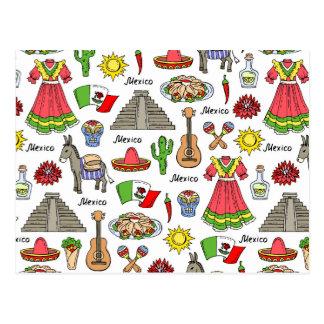 Mexico | Symbols Pattern Postcard