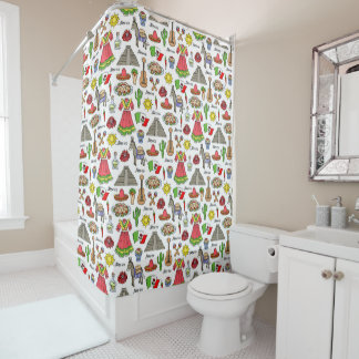 Mexico | Symbols Pattern Shower Curtain