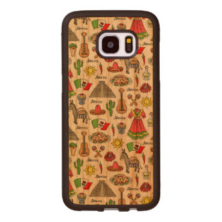 Mexico | Symbols Pattern Wood Samsung Galaxy S7 Edge Case