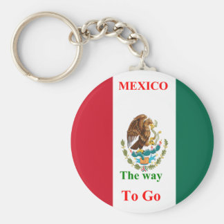 Mexico travel basic round button key ring