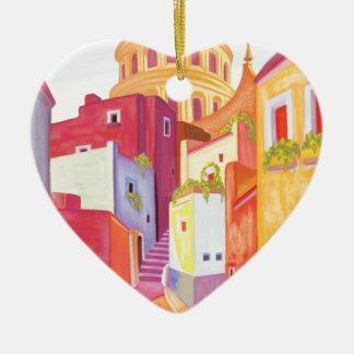 Mexico Travel Poster Ceramic Heart Decoration
