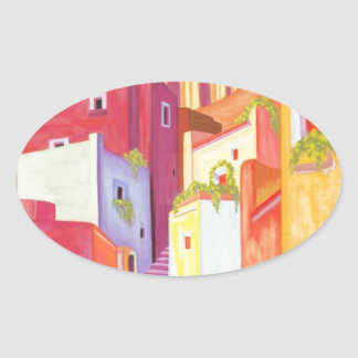 Mexico Travel Poster Oval Sticker