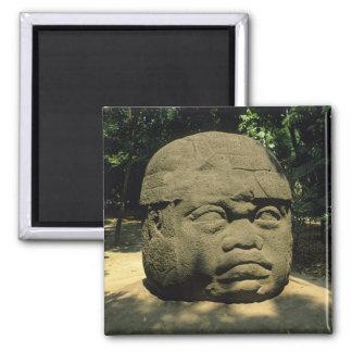 Mexico, Villahermosa, giant Olmec head, La Venta Square Magnet