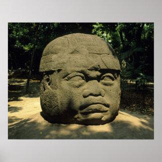 Mexico, Villahermosa, giant Olmec head, La Venta Poster