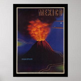 Mexico volcano Art Deco Vintage Poster