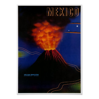 Mexico Volcano Paricutin Vintage Poster Restored