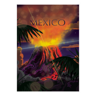 Mexico Volcano Travel Poster