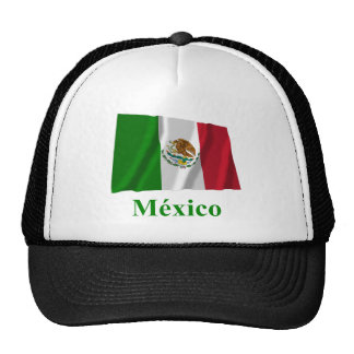 Mexico Waving Flag with Name in Spanish Cap