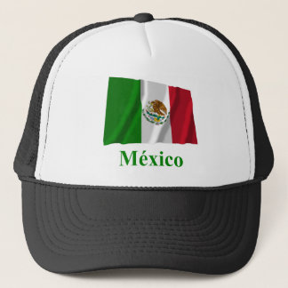Mexico Waving Flag with Name in Spanish Trucker Hat