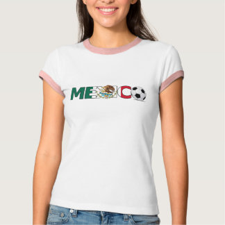 Mexico with Soccer Ball  Ladies Ringer T-Shirt