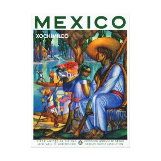 Mexico Xochimilco Vintage Poster Restored Canvas Print