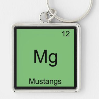 Mg - Mustangs Funny Element Chemistry Symbol Tee Silver-Colored Square Key Ring