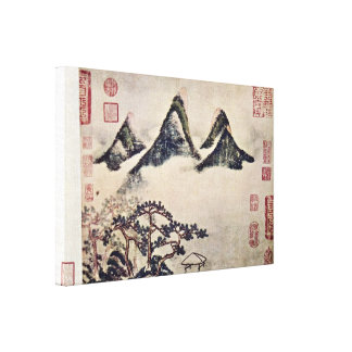 Mi Fu - mountains and pines in the spring Stretched Canvas Print