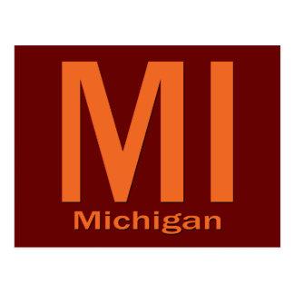 MI Michigan plain orange Postcard