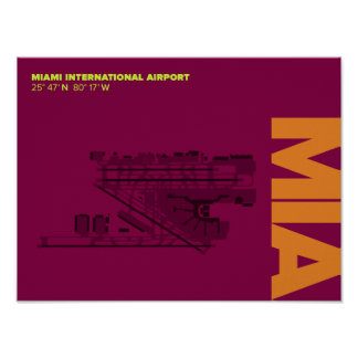 Miami Airport (MIA) Diagram Poster