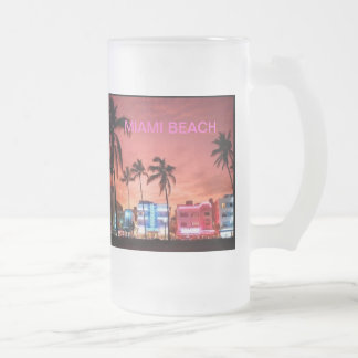 Miami Beach, Florida Frosted Glass Beer Mug