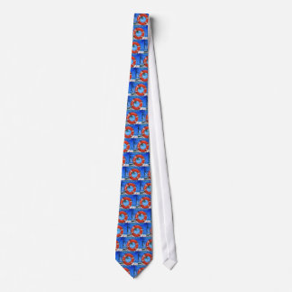 MIAMI BEACH FLORIDA ORANGE LIFE RING NECKTIE