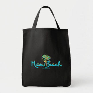 Miami Beach, Florida Palms Black Tote Bag