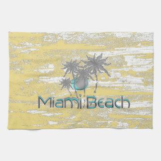Miami-Beach, Florida,Palms, Grunge Cool Kitchen Towel