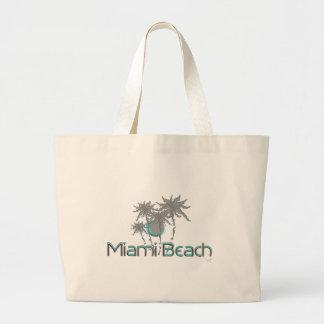 Miami-Beach, Florida,Palms, Grunge Cool Large Tote Bag