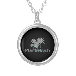 Miami-Beach, Florida,Palms, Grunge Cool Silver Plated Necklace