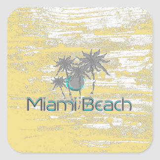 Miami-Beach, Florida,Palms, Grunge Cool Square Sticker