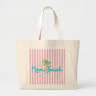 Miami Beach Florida Pink Stripped Tote Bag