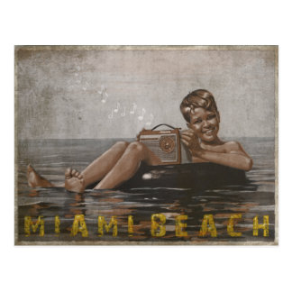 Miami Beach Postcard with Cool Vintage Guy