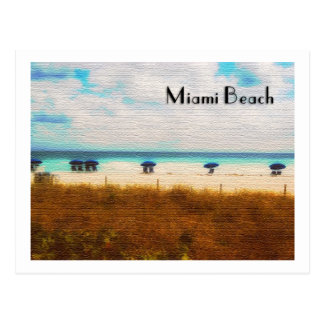 Miami Beach Umbrellas Postcard