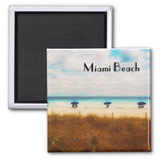 Miami Beach Umbrellas Square Magnet