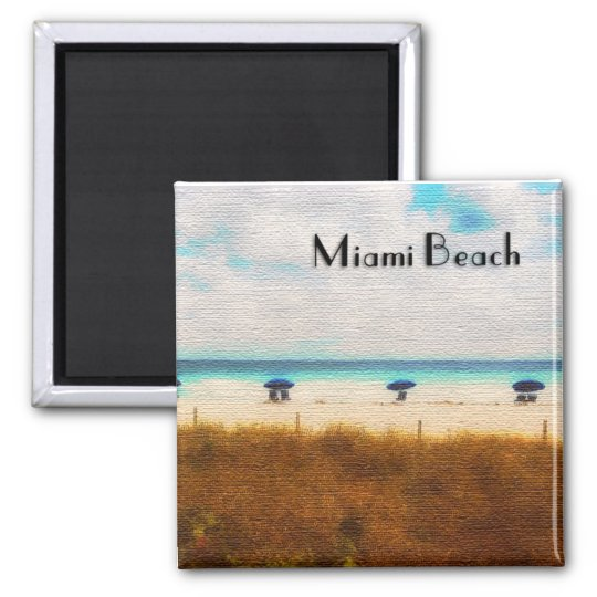 Miami Beach Umbrellas Square Magnet