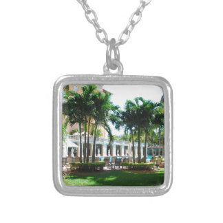 Miami Biltmore pool area Silver Plated Necklace
